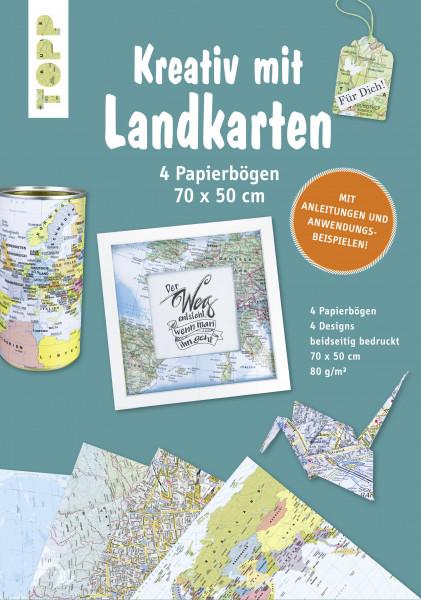 Kreativ mit Landkarten 4 Papierbögen 50 x 70 cm