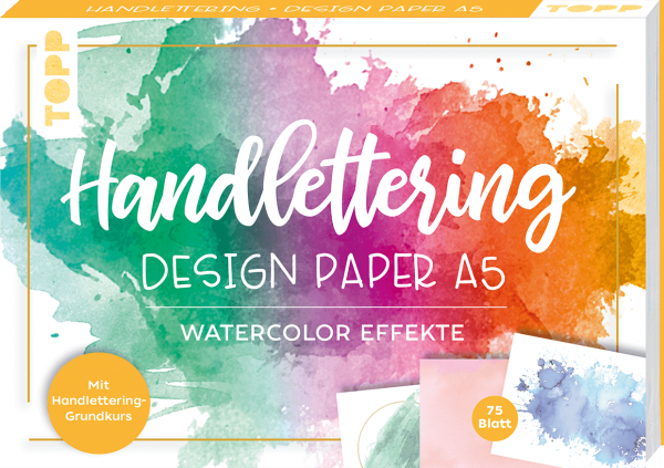 Handlettering Design Paper Block Watercolor-Effekte A5