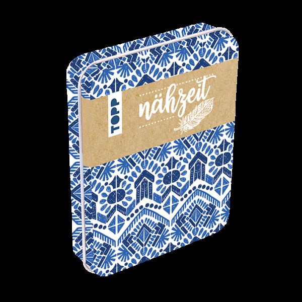 Nähzeit Reise-Nähset mit Metalldose Blau/Weiß