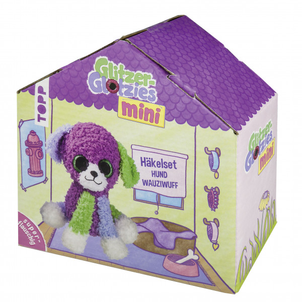 Mini Glitzer-Glotzies Häkelset Hund Wauziwuff