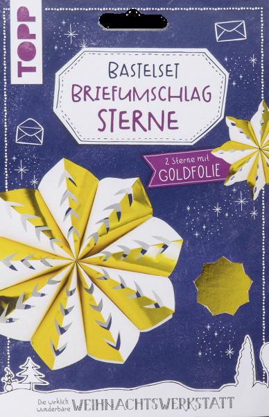 Briefumschlag-Sterne Bastelset mit Goldfolie
