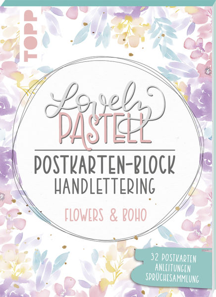 Lovely Pastell Handlettering Postkartenblock Flowers & Boho