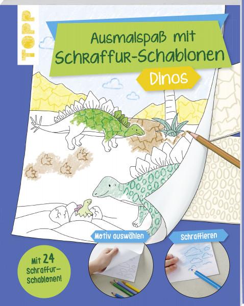 Ausmalspaß mit Schraffur-Schablonen Dinos