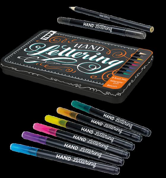 Handlettering Brush Pens mit Metalldose
