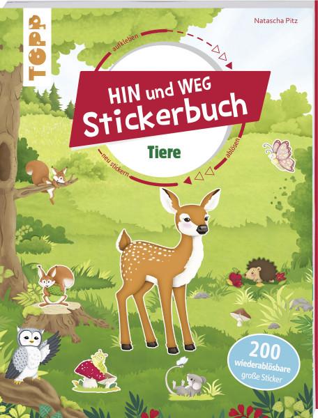 Das Hin-und-weg-Stickerbuch. Tiere