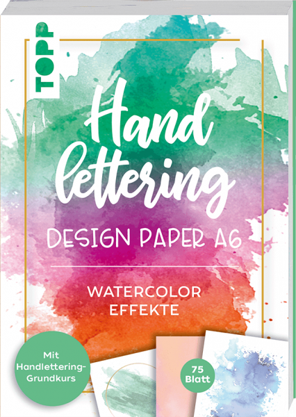 Handlettering Design Paper Block Watercolor-Effekte A6