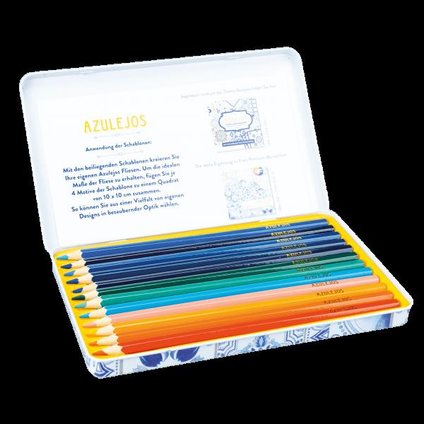 Azulejos Designdose mit 12 Premium-Buntstiften und 2 Schablonen