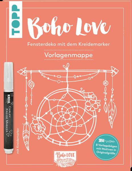 Boho Love. Fensterdeko mit dem Kreidemarker. Vorlagenmappe