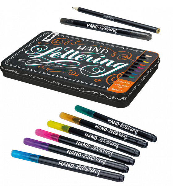 Handlettering Brush Pens mit Metalldose
