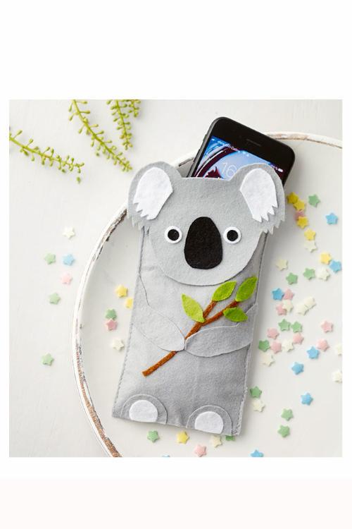 Koala basteln Handyhülle nähen