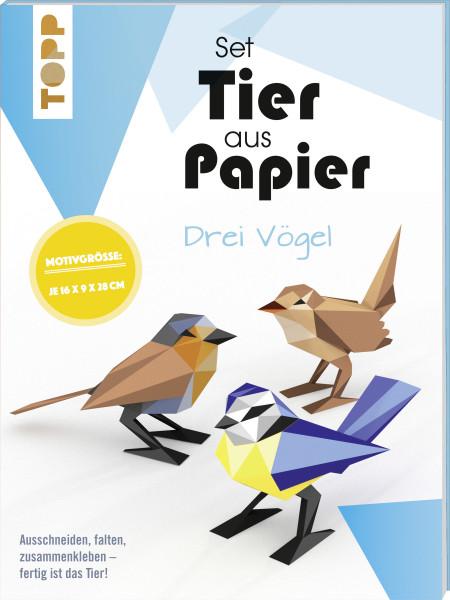 Tier aus Papier (Bastel-Set) - drei Vögel