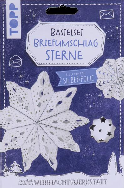 Briefumschlag-Sterne Bastelset mit Silberfolie