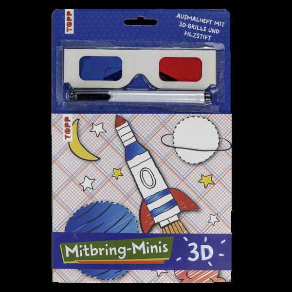 Mitbring-Minis 3D-Ausmalheft mit 3D-Brille und Filzstift