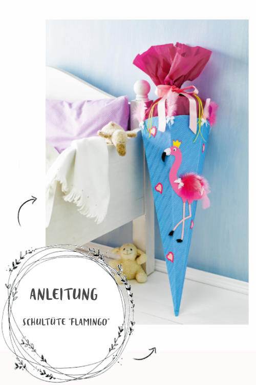 Schultüte basteln Anleitung für Flamingo Motiv